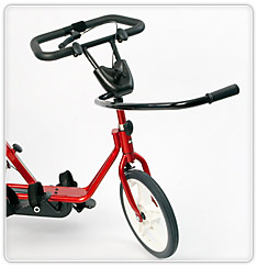The Front Pulley System maintains a level pedal for children whose extreme tone forces the front of the pedal downward